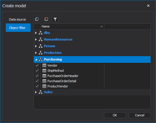 Schemas objects options under Object filter tab in the Create model window
