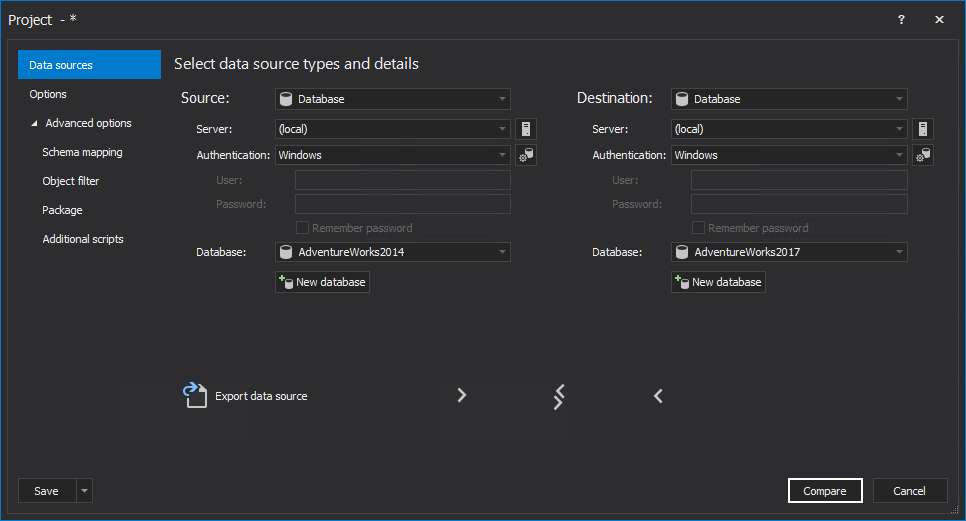 SQL databases selection in the New project window