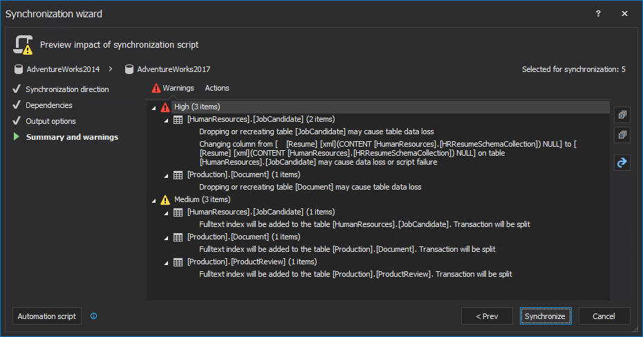 Summary and warnings step in the Synchronization wizard