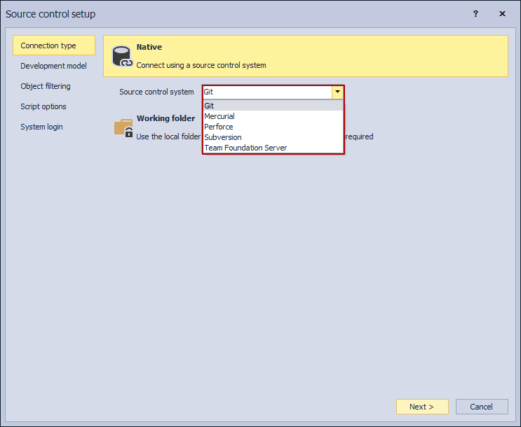 Supported source control systems under the Connection tab in the Source control setup window
