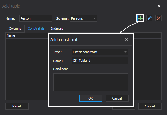 The Add constraint window