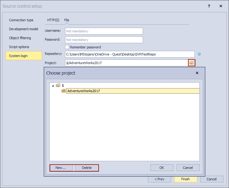 The Choose projet window when linking a database to Subversion repository