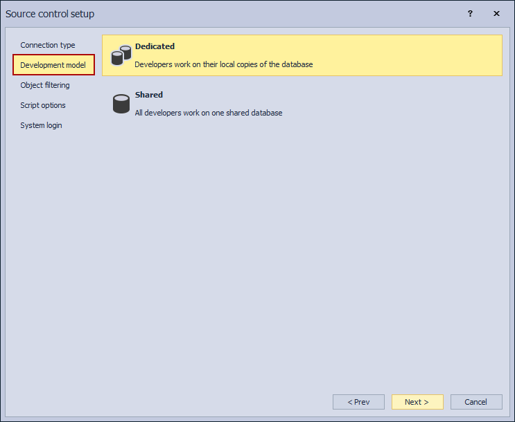 The Develppment model tab in the Source control setup window