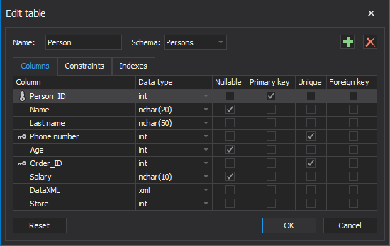 The Edit table window in the SQL data modelling tool