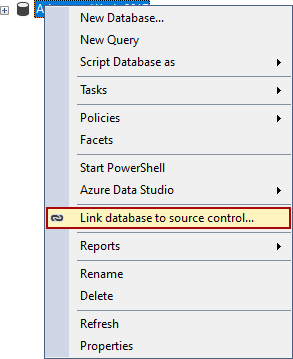 The Link database to source control command in the Object Explorer pane