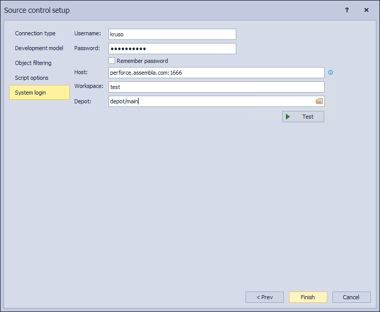 The System login tab in the Source control setup for Perforce source control system