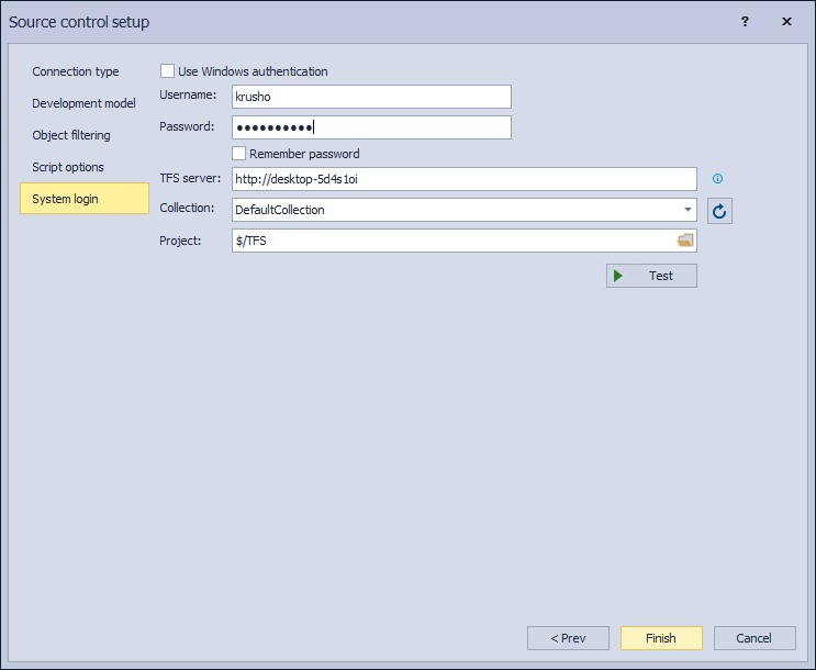 The System login tab in the Source control setup for Azure DevOps Server/Services source control system