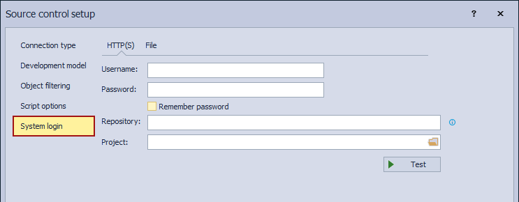 The System login tab when linking a database to the Subversion repository