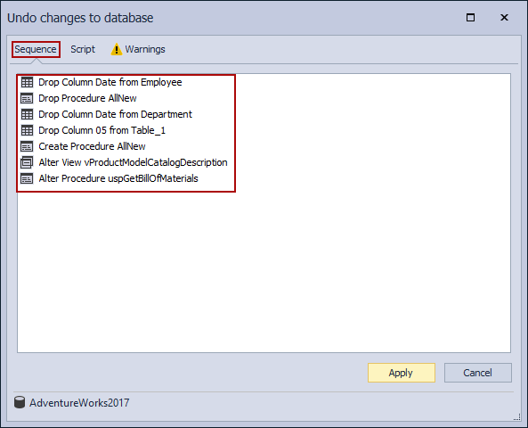 The Undo changes to database window - the Sequence tab