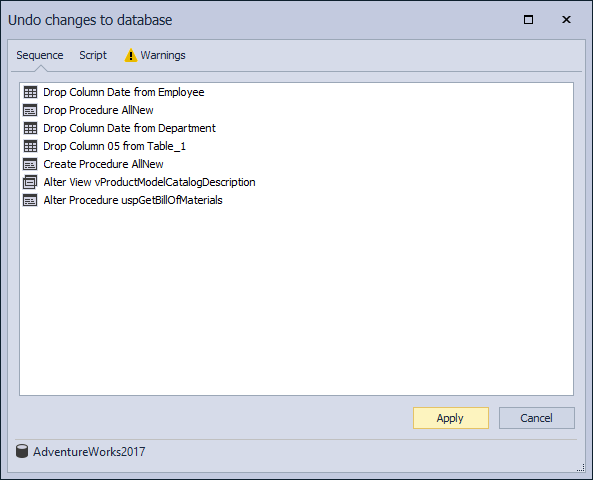 The Undo changes to database window