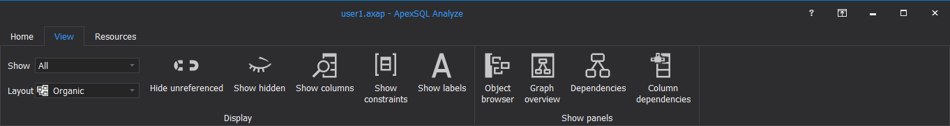 View tab for the ApexSQL Analyze