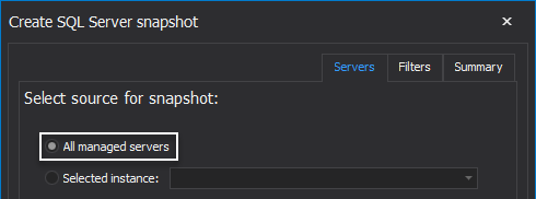 Create snapshots for all managed SQL Servers