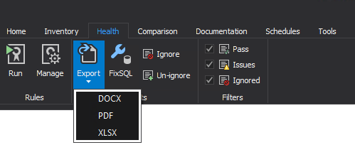 Exporting health check results in DOCX, PDF, XLSX file format within SQL manage instance tool