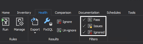 Filter health check results for issues in SQL manage instance tool