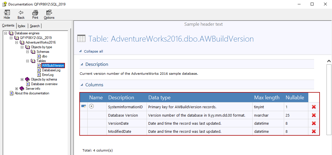 Generated documentation from the SQL documentation software contains the selected tables with column options