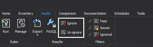 Ignore health check rules shown in the grid of SQL manage instance tool