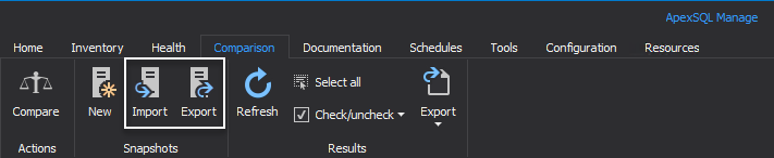 Importing and exporting SQL Server snapshots from the Comparison tab