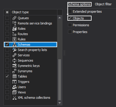 Select schema options from the Schema options grid, which will be included in the documentation
