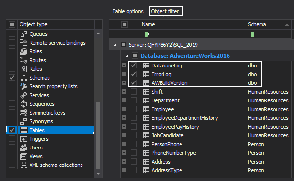Select specific tables from the Object filter grid