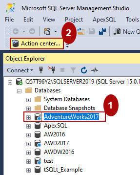 The Action center command in the ApexSQL Source Control toolbar