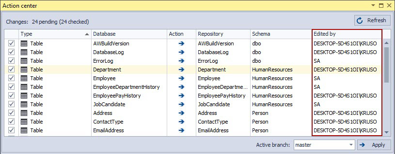 The Action center tab in the database source control
