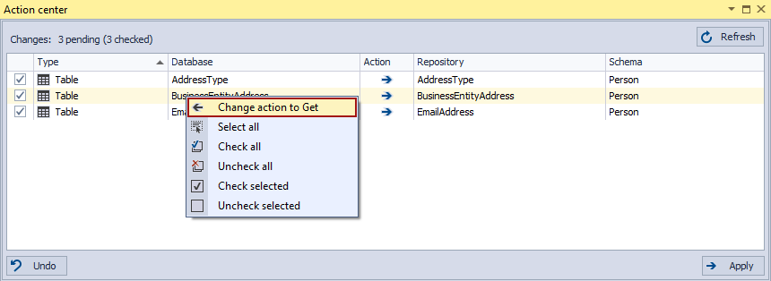 The Change action to Get right-click context menu command in the Action center tab