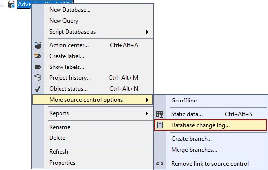 The Database change log command from the More source control options submenu in Object Explorer