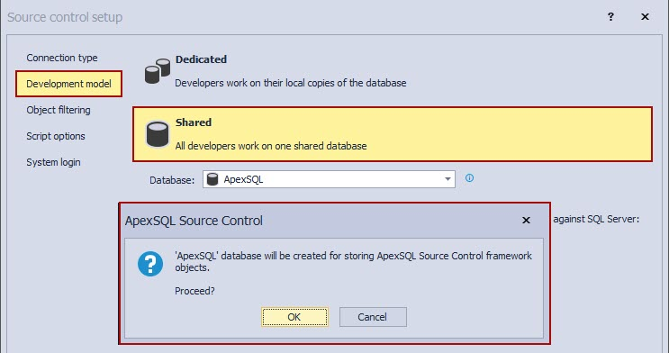 The development model tab in the Source control setup window