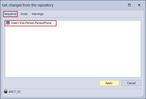 The Insert Into sequence under the Sequence tab of the Get changes from the repository window