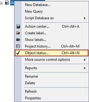 The Object status command from the right-click context menu of the database source control