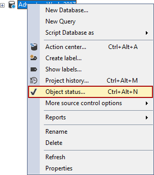 The Object status command in the Object Explorer right-click context menu