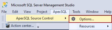 The Options button from ApexSQL Source Control main menu in SSMS