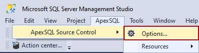 The Options command of ApexSQL Source Control from ApexSQL menu