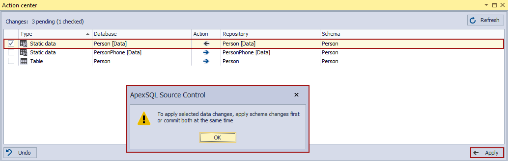 Warning message when only the static data changes are checked in the Action center tab