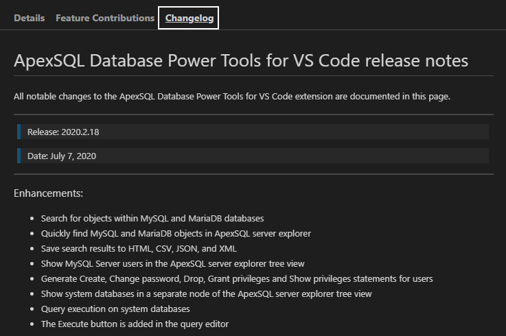 Changelog page of the Database Power Tools for VS Code extension