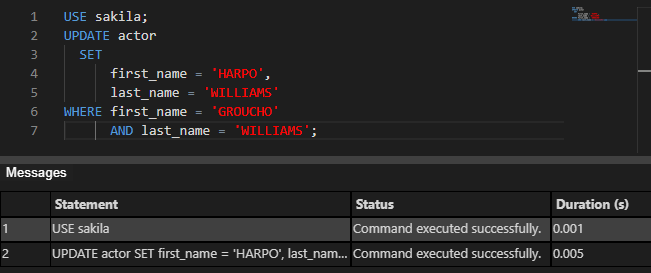 Command executed successfully info message Query results pane