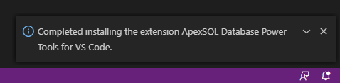 Completed installing the extension ApexSQL Database Power Tools for VS Code info message