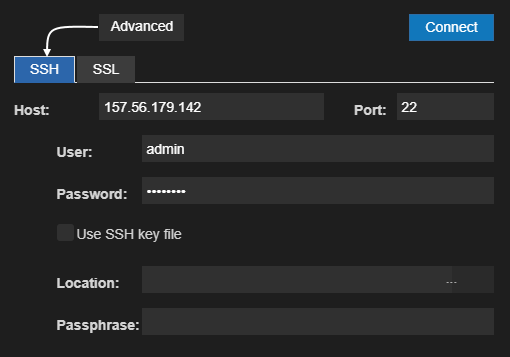 Connect to server dialog with advanced SSH parameters