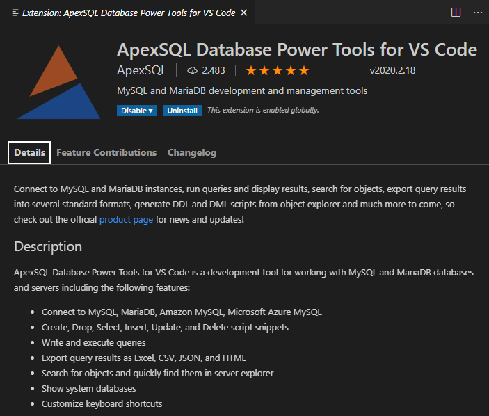 Details page of the Database Power Tools for VS Code extension