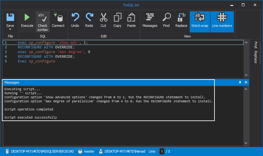 Details when executing FixSQL script