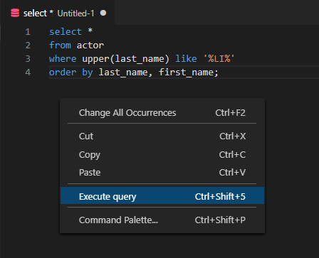 Execute query option in SQL editor