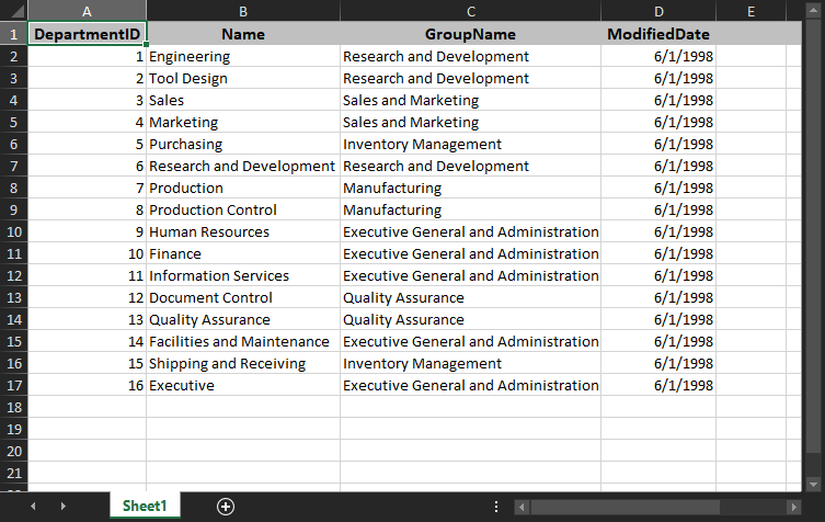 Query results in an Excel spreadsheet