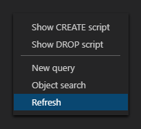 Refresh options from the right-click context menu in ApexSQL server explorer