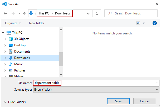 Save As dialog on Windows 10 with download location and Excel file name specified