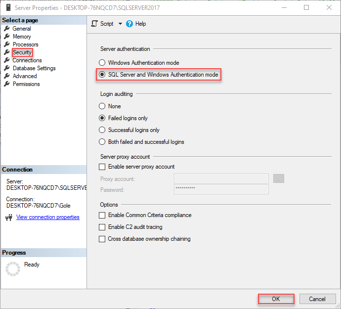 SQL Server and Windows authentication mode