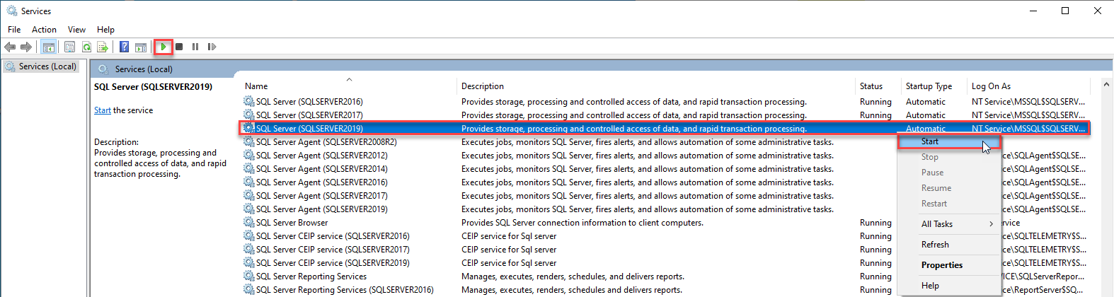 Start the SQL Server from the Services