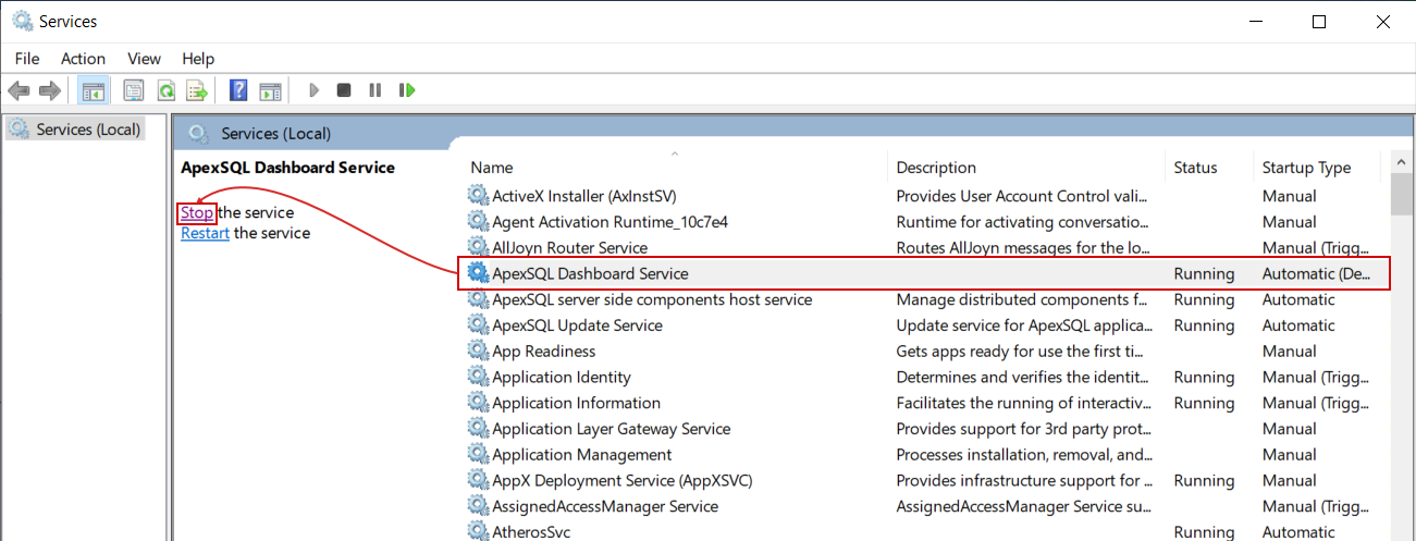 Stopping application service in Windows Services