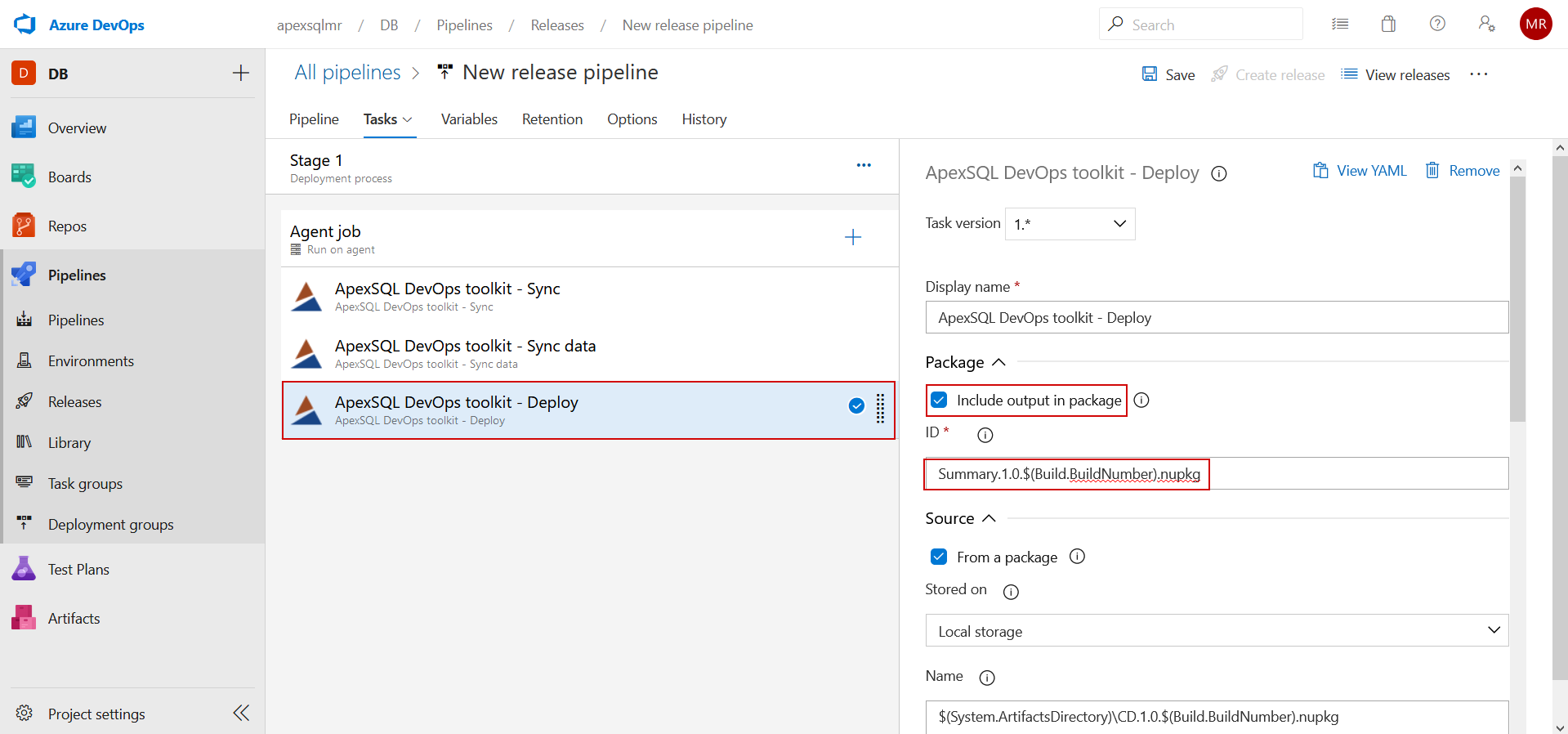 ApexSQL DevOps toolkit - Deploy task NuGet output definition
