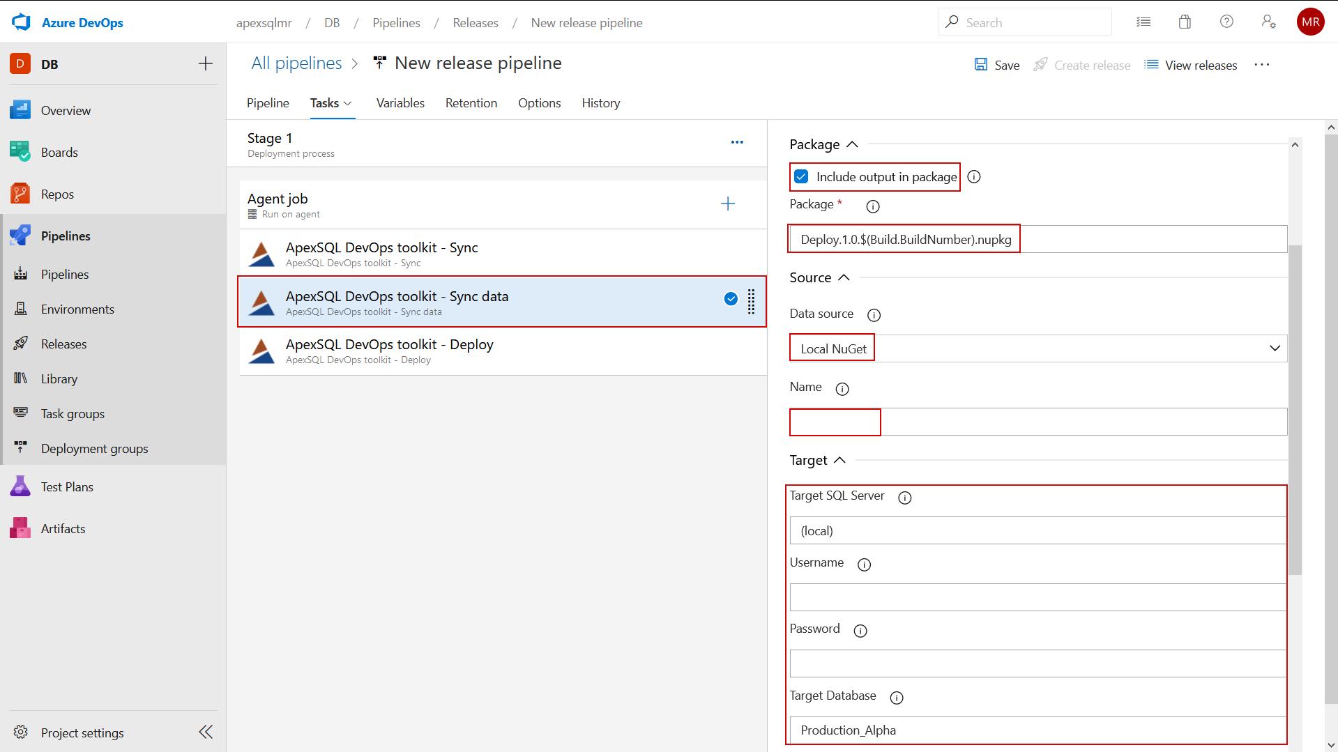 ApexSQL DevOps toolkit - Sync data task configuration