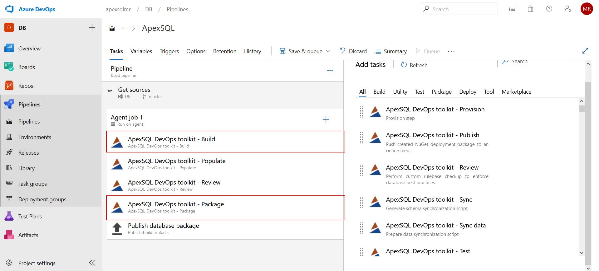 ApexSQL DevOps toolkit tasks